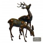 Solstice Sculptures Small Deer Pair Statue - Dark Verdigris