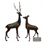 Solstice Sculptures Large Deer Pair Statue - Dark Verdigris