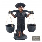 Solstice Sculptures Basket Boy - Bronze Effect