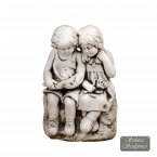 Solstice Sculptures Jack & Jill Sitting Statue - Antique Stone Effect