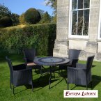 Europa Stone ALCIRA Patio Table with 4 Stockholm Black Chairs