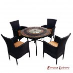 Europa Leisure Alcira Dining Table & 4 Stockholm Black Chairs Set