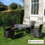 Europa Stone ALCIRA Patio Table with 4 Stockholm Brown Chairs