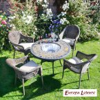 Europa Stone DURANGO Patio Table with 4 Bavaria Chair Set