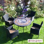 Europa Stone DURANGO Patio Table with 4 Stockholm Black Chairs
