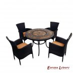 Europa Leisure Durango Patio Table & 4 Stockholm Black Chairs Set