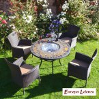 Europa Stone DURANGO Patio Table with 4 Stockholm Brown Chairs