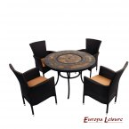 Europa Leisure Durango Patio Table & 4 Stockholm Brown Chairs Set