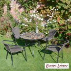 Europa Stone GRANADA Patio Table with 4 San Luca Chair Set