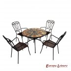 Europa Leisure Granada Patio Table & 4 Verona Chairs Set