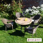 Europa Stone Monaco Dining Table with 4 Bavaria Chair Set