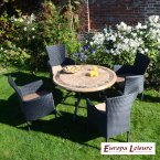 Europa Stone Monaco Dining Table with 4 Stockholm Black Chairs