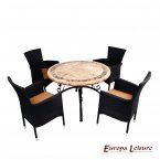 Europa Leisure Monaco Dining Table & 4 Stockholm Black Chairs Set