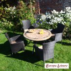 Europa Stone Monaco Dining Table with 4 Stockholm Brown Chairs