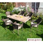 Europa Stone Monte Dining Table with 6 Bavaria Chair Set