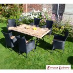 Europa Stone Monte Dining Table with 6 Stockholm Black Chair