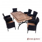 Europa Leisure Monte Carlo Dining Table & 6 Stockholm Black Chairs Set