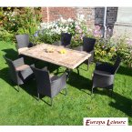 Europa Stone Monte Dining Table with 6 Stockholm Brown Chairs