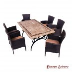 Europa Leisure Monte Carlo Dining Table & 6 Stockholm Brown Chairs Set