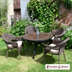 Europa Stone Santa Susanna Dining Table with 4 Bavaria Chairs