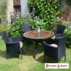 Europa Stone Santa Susanna Dining Table 4 Stockholm Blk Chairs