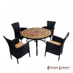 Europa Leisure Santa Susanna Dining Table & 4 Stockholm Black Chairs Set
