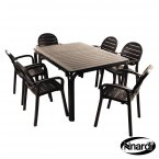 Nardi Alloro Table & 6 Palma Chairs Set - Anthracite