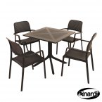 Nardi Clip Table & 4 Bora Chairs Set - Anthracite