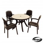 Nardi Toscana 100 Table Mosaic & 4 Beta Chairs Set - Anthracite