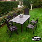 Nardi Coffee Libeccio Table with 2 Darsena & 4 Bora Chair Set