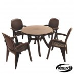 Nardi Toscana 100 Table Plain & 4 Creta Chairs Set - Coffee