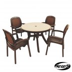 Nardi Toscana 100 Table Mosaic & 4 Beta Chairs Set - Coffee