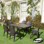 Nardi Coffee Toscana 165 Plain with 6 Creta Wicker Chair Set