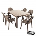 Nardi Alloro Table & 6 Palma Chairs Set - Turtle Dove Grey