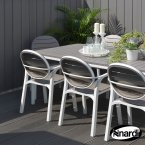 Nardi Turtle Dove Alloro White with 6 Palma Chair Set