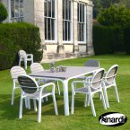 Nardi Alloro Table & 6 Palma Chairs Set - Turtle Dove Grey & White