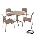 Nardi Clip Table & 4 Bora Chairs Set - Turtle Dove Grey