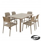 Nardi Libeccio Table & 6 Bora Chairs Set - Turtle Dove Grey