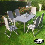 Nardi Libeccio Table & 6 Darsena Chairs Set - Turtle Dove Grey