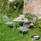Nardi Maestrale 90 Table & 4 Musa Chairs Set - Turtle Dove Grey