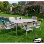 Nardi Maestrale 220 Table & 6 Musa Chairs Set - Turtle Dove Grey
