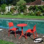 Nardi Red Step Table with 2 Bistrot Chair Set