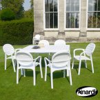 Nardi White Alloro Table with 6 Palma Chair Set