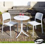 Nardi White Step Table with 2 Bistrot Chair Set