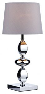 Dar Wickford Table Lamp Small Polished Chrome with Shade