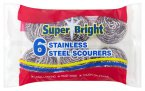 Super Bright Stainless Steel Scourers (Pack of 6)