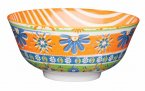 KitchenCraft Bold Flower Print Orange Ceramic Bowl
