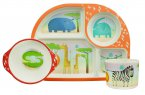 BimBamBoo 3 Piece Bamboo Kids Dining Set - Wild Animals