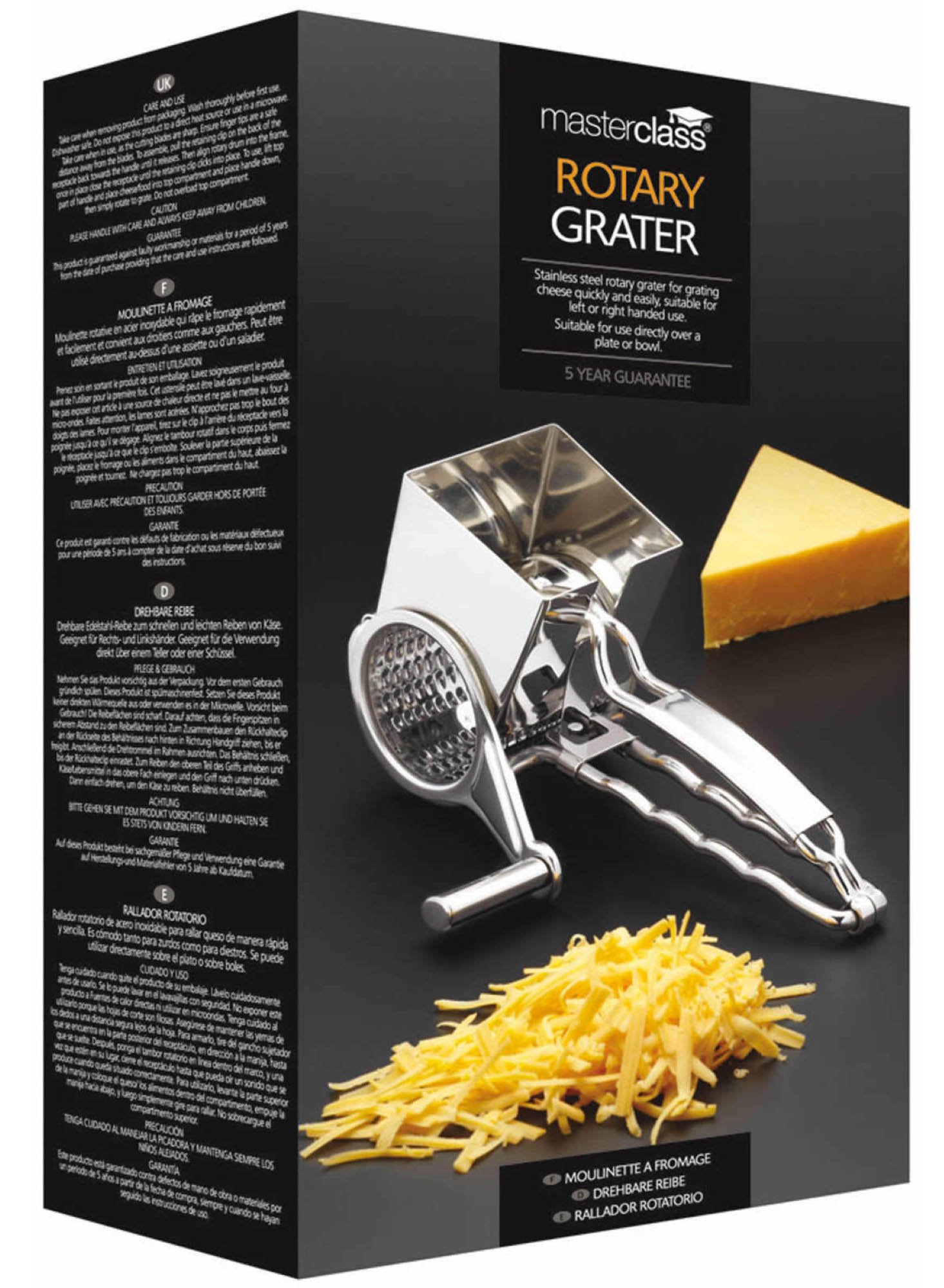 Masterclass Stainless Steel Rotary Cheese Grater At