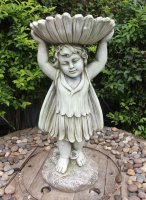 Solstice Sculptures Flower Fairy Birdbath 61cm Tinted Stone Effect